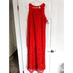NWT Xhilaration Red Lace Maxi Dress Size L